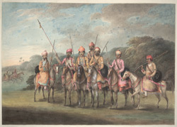 A group of Sikh horsemen armed with sword and matchlocks